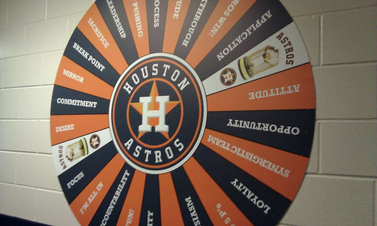 Bo Porter's Wheel of Fortune-like sign was in- stalled to offer his Astros words of motivation.