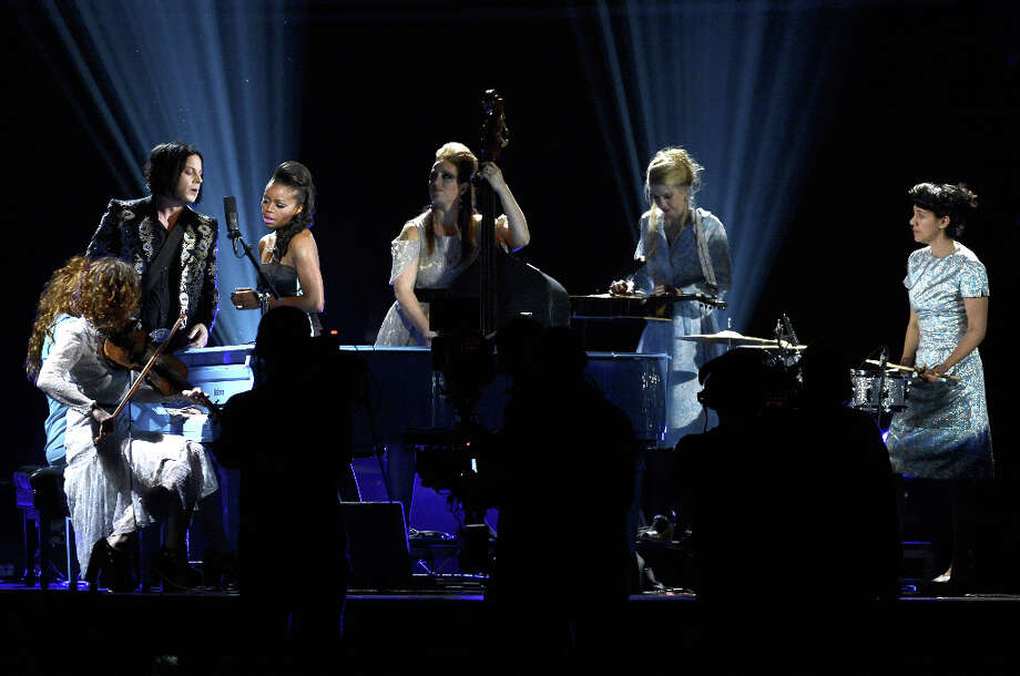 Musician Jack White (L) and band perform onstage at the 55th Annual GRAMMY Awards at Staples Center on February 10, 2013 in Los Angeles, California. Photo: Kevork Djansezian, Getty Images / 2013 Getty Images