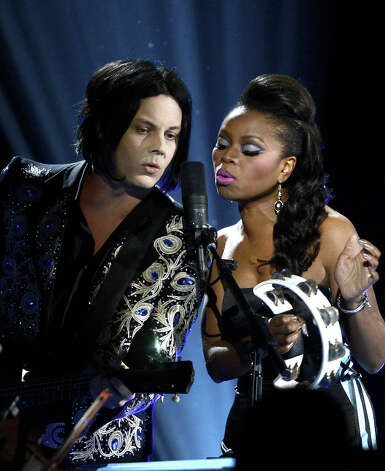 Musicians Jack White and Ruby Amanfu perform onstage at the 55th Annual GRAMMY Awards at Staples Center on February 10, 2013 in Los Angeles, California. Photo: Kevork Djansezian, Getty Images / 2013 Getty Images