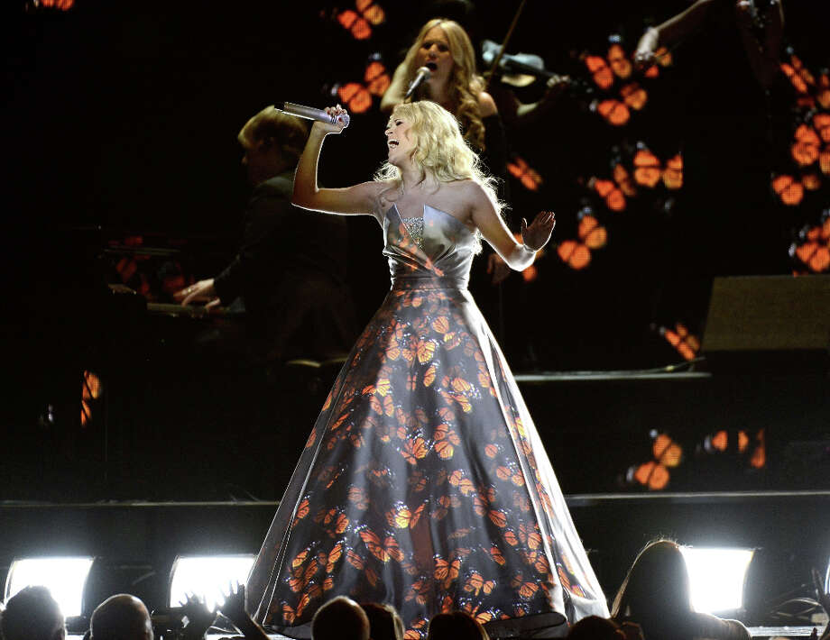 Singer Carrie Underwood performs onstage at the 55th Annual GRAMMY Awards at Staples Center on February 10, 2013 in Los Angeles, California. Photo: Kevork Djansezian, Getty Images / 2013 Getty Images
