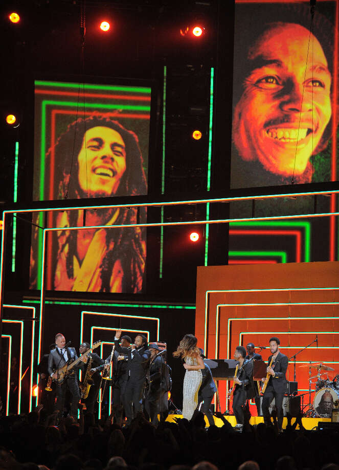 Rihanna, Bruno Mars, Sting, Ziggy and Stephen and Damian Marley perform in tribute to Bob Marley on stage at the Staples Center during the 55th Grammy Awards in Los Angeles, California, February 10, 2013. Photo: JOE KLAMAR, AFP/Getty Images / AFP