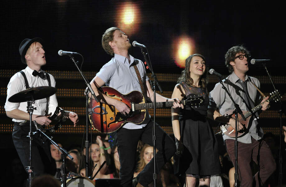 The Lumineers, from left, Jeremiah Fraites, Wesley Schultz, Neyla Pekarek and Stelth Ulvang perform at the 55th annual Grammy Awards on Sunday, Feb. 10, 2013, in Los Angeles. Photo: John Shearer, Associated Press / Invision