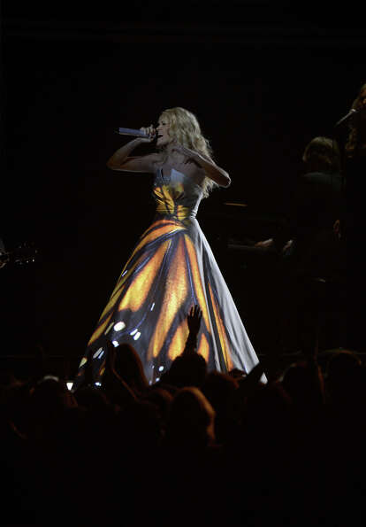 Carrie Underwood performs on stage at the Staples Center during the 55th Grammy Awards in Los Angele