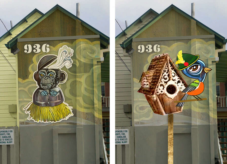 Leaders of the historic King William neighborhood turned thumbs down on a proposed mural (left) of a chimp in a grass skirt and bikini top. So artist Robert Tatum substituted a design featuring a bird in a German hat for one side of a business building. Photo: Courtesy Photos