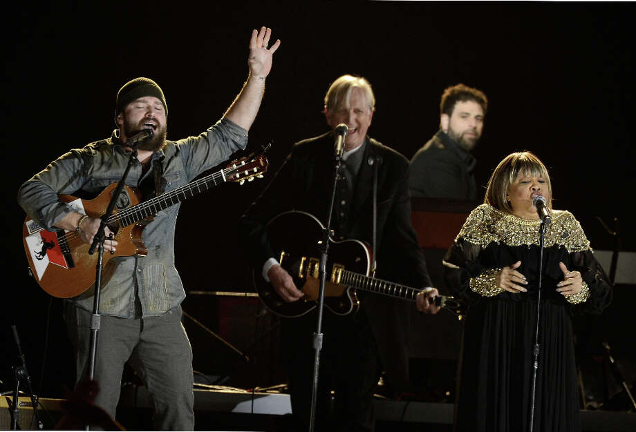 Musicians Zac Brown (L-R), T Bone Burnett and Mavis Staples perform onstage at the 55th Annual GRAMMY Awards at Staples Center on February 10, 2013 in Los Angeles, California. Photo: Kevork Djansezian, Getty Images / 2013 Getty Images