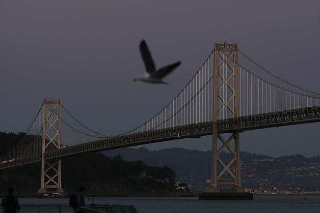 A seagull flies overhead as Leo Villareal's light show on the Bay Bridge plays on Sunday, Feb. 10. Villareal used 25,000 LED lights to illuminate the Bay Bridge for the Grand Lighting on March 5. Photo: James Tensuan, The Chronicle