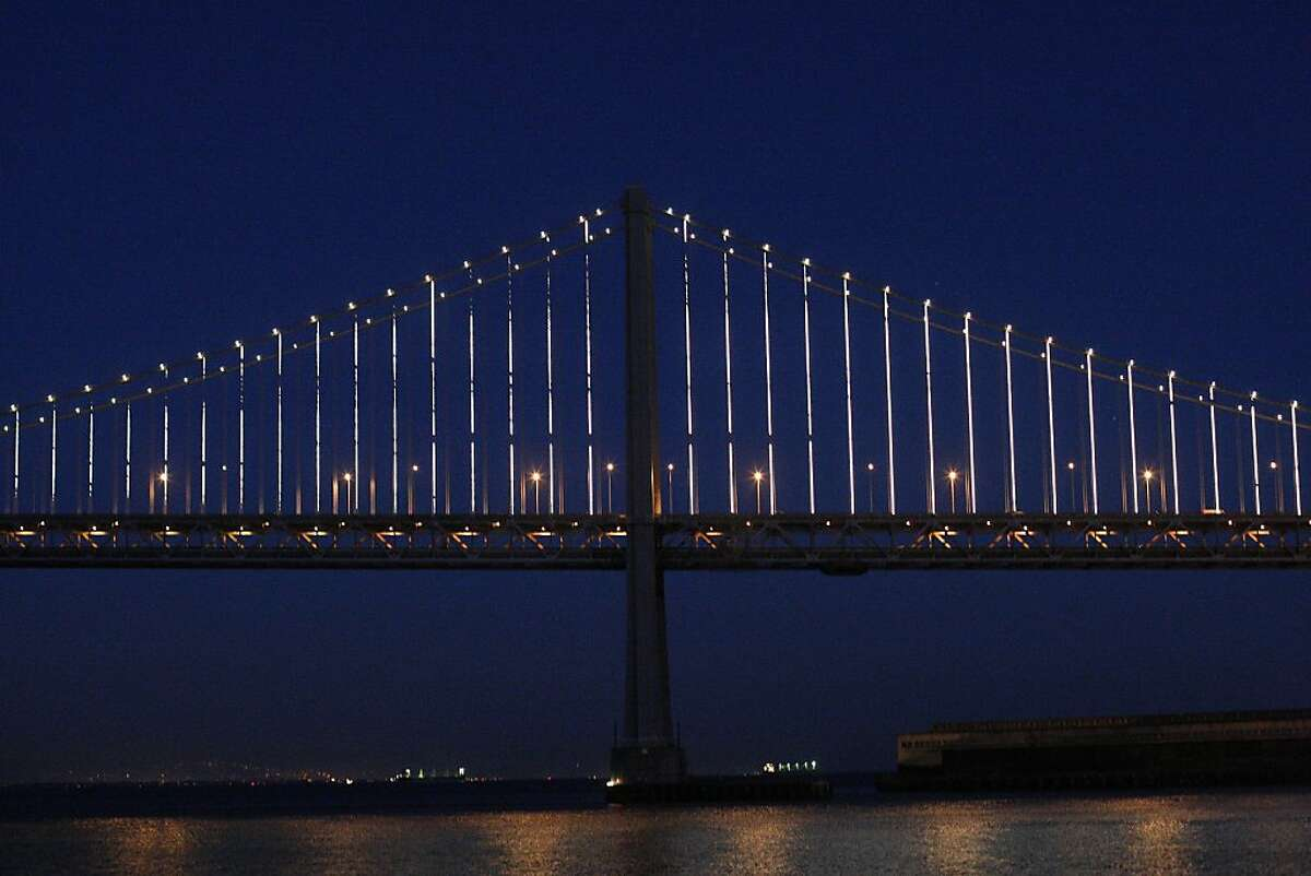 Leo Villareal's light show on the Bay Bridge can be seen from Pier 14 on Sunday, Feb. 10. Villareal used 25,000 LED lights to illuminate the Bay Bridge for the Grand Lighting on March 5.
