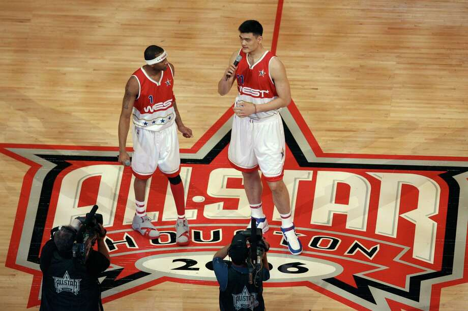 Seven years ago, on Feb. 19, 2006, the NBA All Star Game was played at Toyota Center. Tracy McGrady, left, and Yao Ming were on hand then to welcome fans before the game. Photo: MAYRA BELTRAN, STAFF / Houston Chronicle