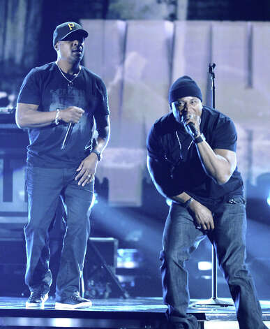 Rappers Chuck D (L) and LL Cool J perform onstage at the 55th Annual GRAMMY Awards at Staples Center on February 10, 2013 in Los Angeles, California. Photo: Kevork Djansezian, Getty Images / 2013 Getty Images