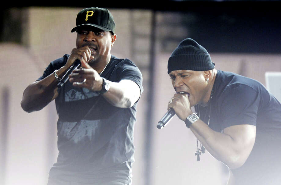 LL Cool J (R) and Chuck D perform on stage at the Staples Center during the 55th Grammy Awards in Los Angeles, California, February 10, 2013. Photo: JOE KLAMAR, AFP/Getty Images / AFP