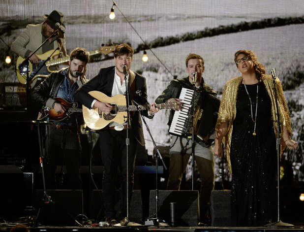Musicians Marcus Mumford (2nd L) and Brittany Howard (R) perform onstage at the 55th Annual GRAMMY Awards at Staples Center on February 10, 2013 in Los Angeles, California. Photo: Kevork Djansezian, Getty Images / 2013 Getty Images