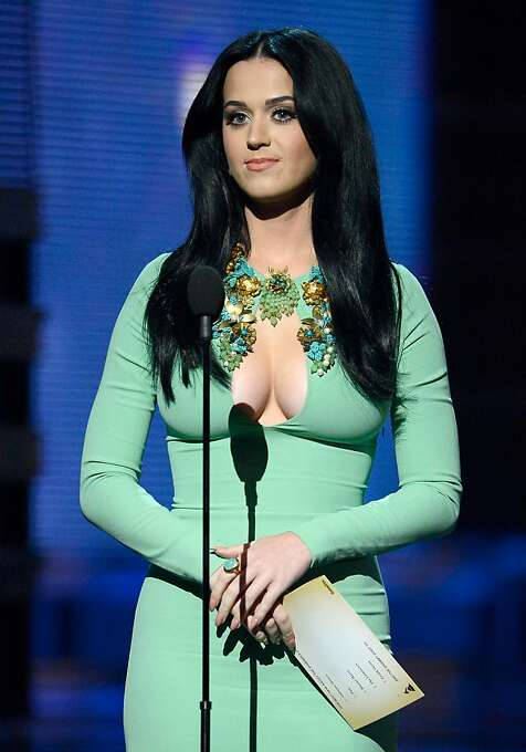 """Katy Perry Presents Best New Artist: Katy Perry, wearing a saucy green dress that would make J. Lo's famous green dress blush, was refreshingly surly presenting the Best New Artist award: """"I was never nominated in this category and I have my own eyelash line. Take that, Bon Iver."""" The only downer? Fun., which formed in 2008, won the prize, guaranteeing virtual obscurity (previous winners: Hootie and the Blowfish, Arrested Development, Milli Vanilli). """"I got to pee so bad,"""" said singer Nate Ruess. Photo: Kevork Djansezian, Getty Images"""