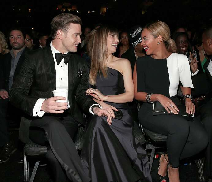 Justin Timberlake, Jessica Biel and Beyoncé Knowles attend the 55th Annual GRAMMY Awards at STAPLES