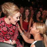 Singers Adele and Beyonce attend the 55th Annual GRAMMY Awards at STAPLES Center on February 10, 2013 in Los Angeles, California.
