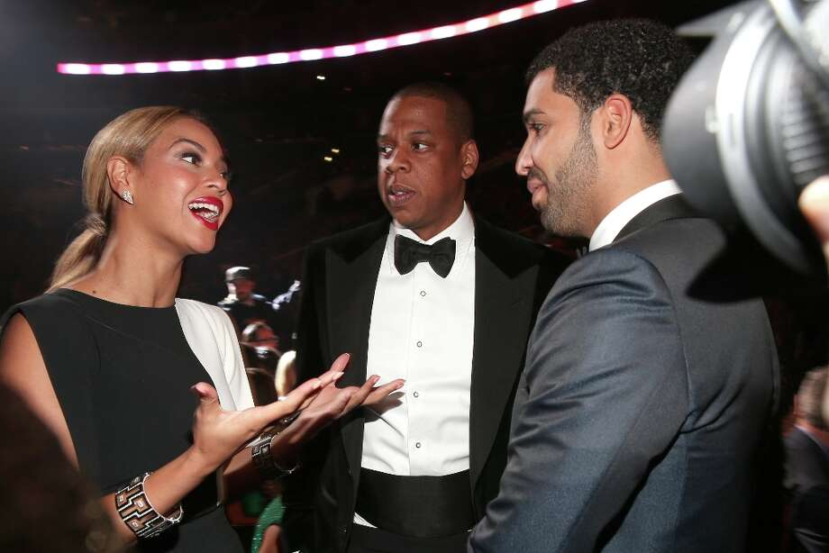 Singer Beyonce and hip-hop artists Jay Z and Drake attend the 55th Annual GRAMMY Awards at STAPLES Center on February 10, 2013 in Los Angeles, California. Photo: Christopher Polk, Getty Images For NARAS / 2013 Getty Images