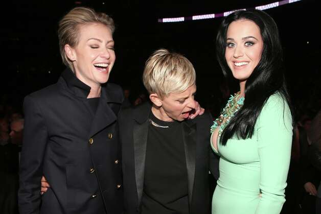 (L-R) Actress Portia de Rossi, actress Ellen DeGeneres and singer Katy Perry attend the 55th Annual GRAMMY Awards at STAPLES Center on February 10, 2013 in Los Angeles, California. Photo: Christopher Polk, Getty Images For NARAS / 2013 Getty Images