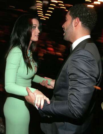 Singer Katy Perry and hip-hop artist Drake attend the 55th Annual GRAMMY Awards at STAPLES Center on February 10, 2013 in Los Angeles, California. Photo: Christopher Polk, Getty Images For NARAS / 2013 Getty Images