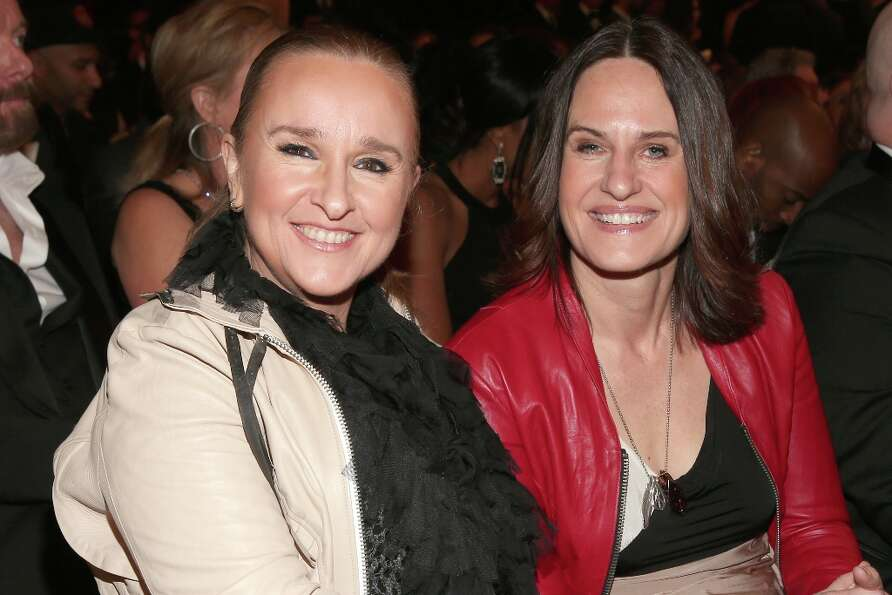 Singer Melissa Etheridge (L) and guest attend the 55th Annual GRAMMY Awards at STAPLES Center on Feb