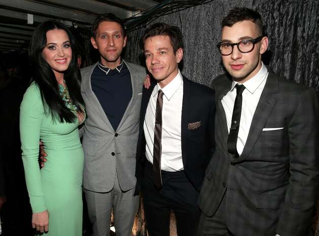 (L-R) Singer Katy Perry, musician Andrew Dost, Nate Ruess, and Jack Antonoff of Fun. attend the 55th Annual GRAMMY Awards at Staples Center on February 10, 2013 in Los Angeles, California. Photo: Christopher Polk, Getty Images For NARAS / 2013 Getty Images