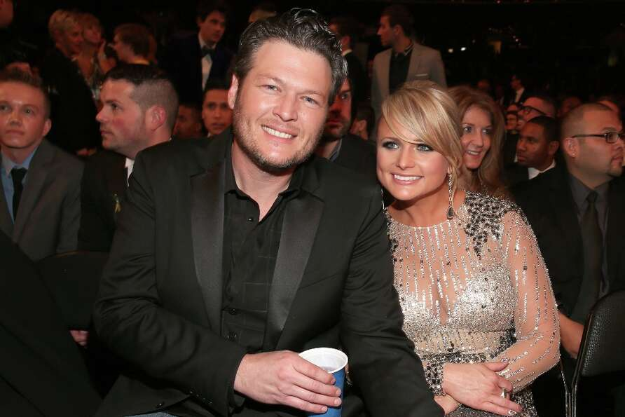 Singers Blake Shelton (L) and Miranda Lambert attend the 55th Annual GRAMMY Awards at STAPLES Center