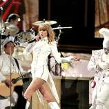 LOS ANGELES, CA - FEBRUARY 10:  Taylor Swift performs at the 55th Annual GRAMMY Awards at STAPLES Center on February 10, 2013 in Los Angeles, California.