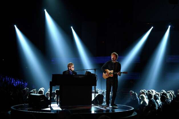 LOS ANGELES, CA - FEBRUARY 10:  Musicians Elton John (L) and Ed Sheeran perform onstage at the 55th Annual GRAMMY Awards at Staples Center on February 10, 2013 in Los Angeles, California. Photo: Kevork Djansezian, Getty Images / 2013 Getty Images