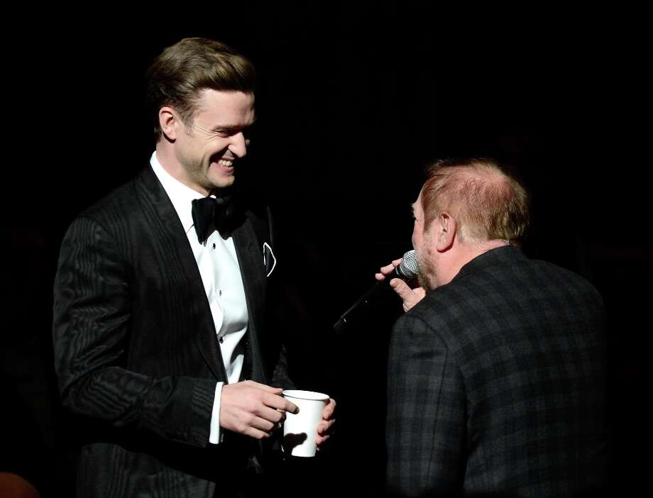 LOS ANGELES, CA - FEBRUARY 10:  Singer-actor Justin Timberlake (L) and show producer Ken Ehrlich speak onstage at the 55th Annual GRAMMY Awards at Staples Center on February 10, 2013 in Los Angeles, California. Photo: Kevork Djansezian, Getty Images / 2013 Getty Images