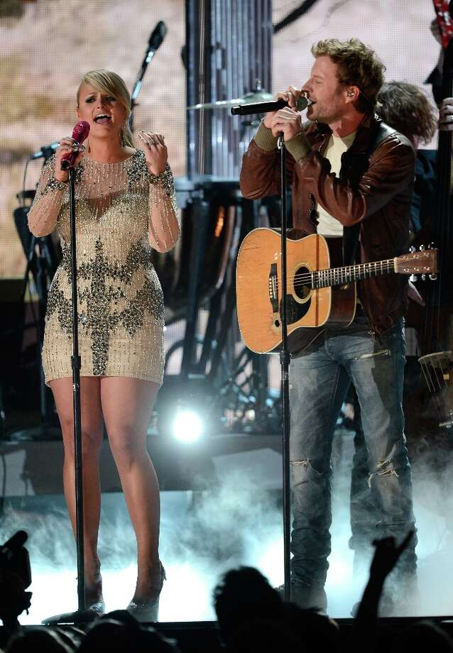 LOS ANGELES, CA - FEBRUARY 10:  Singers Miranda Lambert (L) and Dierks Bentley perform onstage at the 55th Annual GRAMMY Awards at Staples Center on February 10, 2013 in Los Angeles, California. Photo: Kevork Djansezian, Getty Images / 2013 Getty Images