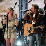 LOS ANGELES, CA - FEBRUARY 10:  Singers Miranda Lambert (L) and Dierks Bentley perform onstage at the 55th Annual GRAMMY Awards at Staples Center on February 10, 2013 in Los Angeles, California.