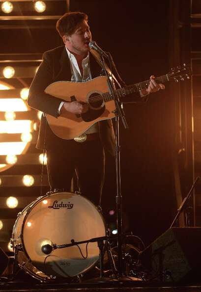 LOS ANGELES, CA - FEBRUARY 10:  Musician Marcus Mumford of Mumford & Sons performs onstage at the 55