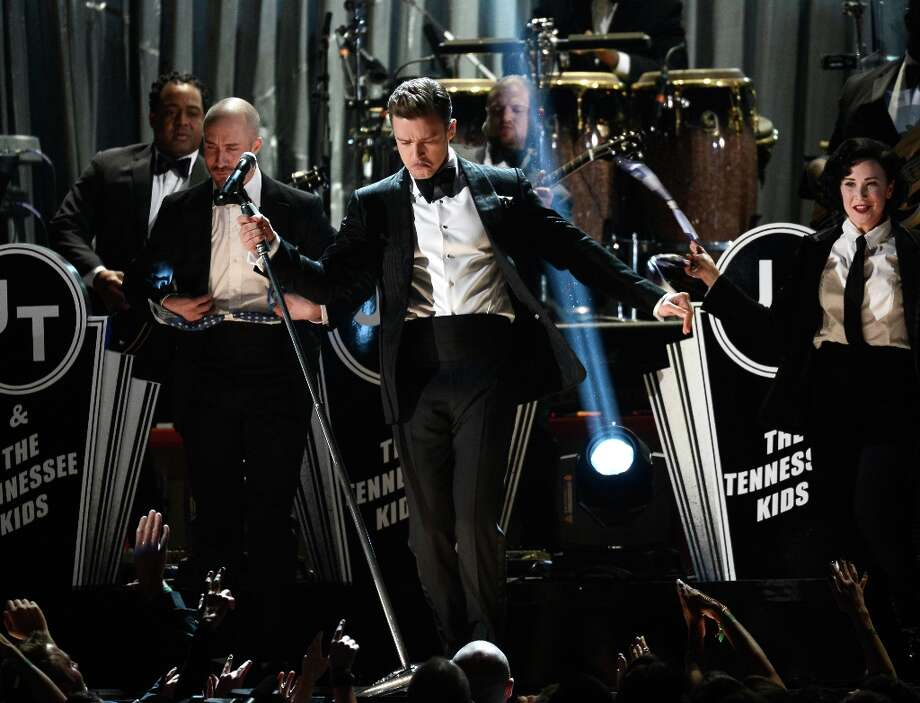 LOS ANGELES, CA - FEBRUARY 10:  Singer Justin Timberlake performs onstage at the 55th Annual GRAMMY Awards at Staples Center on February 10, 2013 in Los Angeles, California. Photo: Kevork Djansezian, Getty Images / 2013 Getty Images