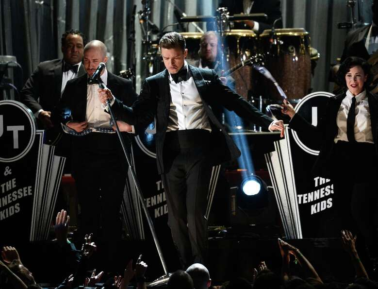 LOS ANGELES, CA - FEBRUARY 10:  Singer Justin Timberlake performs onstage at the 55th Annual GRAMMY