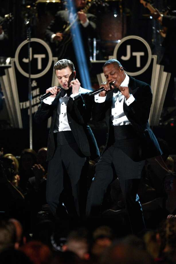 LOS ANGELES, CA - FEBRUARY 10:  Singer Justin Timberlake (L) and rapper Jay-Z perform onstage at the 55th Annual GRAMMY Awards at Staples Center on February 10, 2013 in Los Angeles, California. Photo: Kevork Djansezian, Getty Images / 2013 Getty Images