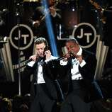 LOS ANGELES, CA - FEBRUARY 10:  Singer Justin Timberlake (L) and rapper Jay-Z perform onstage at the 55th Annual GRAMMY Awards at Staples Center on February 10, 2013 in Los Angeles, California.