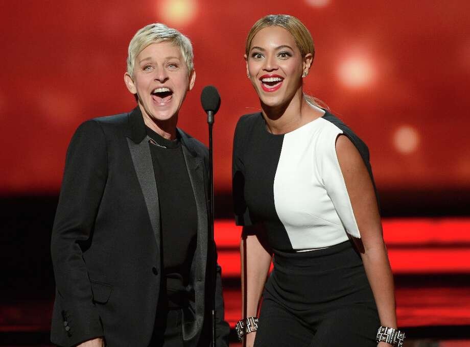 LOS ANGELES, CA - FEBRUARY 10:  TV personality Ellen DeGeneres (L) and singer Beyonce speak onstage at the 55th Annual GRAMMY Awards at Staples Center on February 10, 2013 in Los Angeles, California. Photo: Kevork Djansezian, Getty Images / 2013 Getty Images