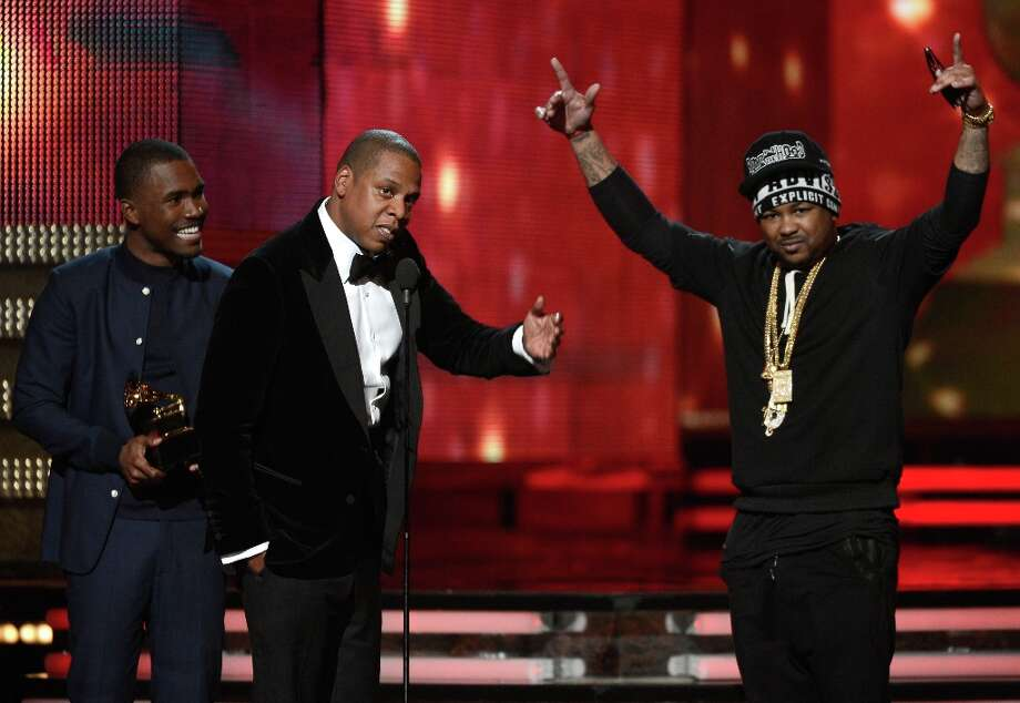 LOS ANGELES, CA - FEBRUARY 10:  (L-R) Musicians Frank Ocean, Jay-Z and The-Dream accept Best Rap/Sung Collaboration award for No Church in the Wild onstage at the 55th Annual GRAMMY Awards at Staples Center on February 10, 2013 in Los Angeles, California. Photo: Kevork Djansezian, Getty Images / 2013 Getty Images
