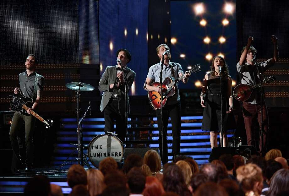 LOS ANGELES, CA - FEBRUARY 10:  (L-R) Musicians Stelth Ulvang, Jeremiah Fraites, Wesley Schultz, Neyla Pekarek and Ben Wahamaki of the Lumineers perform onstage at the 55th Annual GRAMMY Awards at Staples Center on February 10, 2013 in Los Angeles, California. Photo: Kevork Djansezian, Getty Images / 2013 Getty Images