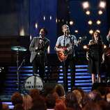LOS ANGELES, CA - FEBRUARY 10:  (L-R) Musicians Stelth Ulvang, Jeremiah Fraites, Wesley Schultz, Neyla Pekarek and Ben Wahamaki of the Lumineers perform onstage at the 55th Annual GRAMMY Awards at Staples Center on February 10, 2013 in Los Angeles, California.