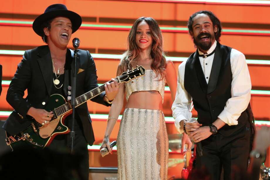 LOS ANGELES, CA - FEBRUARY 10:  (L-R) Singers Bruno Mars, Rihanna and Damian Marley perform onstage during the 55th Annual GRAMMY Awards at STAPLES Center on February 10, 2013 in Los Angeles, California. Photo: Christopher Polk, Getty Images For NARAS / 2013 Getty Images