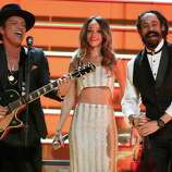 LOS ANGELES, CA - FEBRUARY 10:  (L-R) Singers Bruno Mars, Rihanna and Damian Marley perform onstage during the 55th Annual GRAMMY Awards at STAPLES Center on February 10, 2013 in Los Angeles, California.