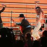 LOS ANGELES, CA - FEBRUARY 10:  (L-R) Singers Ziggy Marley, Bruno Mars, Rihanna and Damian Marley perform onstage during the 55th Annual GRAMMY Awards at STAPLES Center on February 10, 2013 in Los Angeles, California.