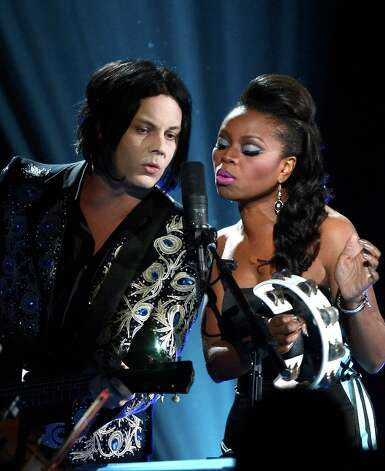 LOS ANGELES, CA - FEBRUARY 10:  Musicians Jack White and Ruby Amanfu perform onstage at the 55th Annual GRAMMY Awards at Staples Center on February 10, 2013 in Los Angeles, California. Photo: Kevork Djansezian, Getty Images / 2013 Getty Images