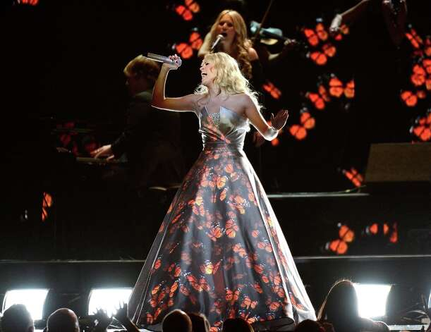 LOS ANGELES, CA - FEBRUARY 10:  Singer Carrie Underwood performs onstage at the 55th Annual GRAMMY Awards at Staples Center on February 10, 2013 in Los Angeles, California. Photo: Kevork Djansezian, Getty Images / 2013 Getty Images
