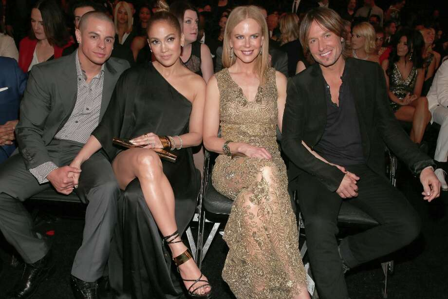 LOS ANGELES, CA - FEBRUARY 10:  (L-R) Choreographer Casper Smart, singer Jennifer Lopez, actress Nicole Kidman and singer Keith Urban attend the 55th Annual GRAMMY Awards at STAPLES Center on February 10, 2013 in Los Angeles, California. Photo: Christopher Polk, Getty Images For NARAS / 2013 Getty Images