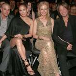 LOS ANGELES, CA - FEBRUARY 10:  (L-R) Choreographer Casper Smart, singer Jennifer Lopez, actress Nicole Kidman and singer Keith Urban attend the 55th Annual GRAMMY Awards at STAPLES Center on February 10, 2013 in Los Angeles, California.