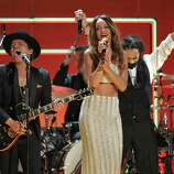 Recording artists Bruno Mars, left, and Rihanna perform a tribute to Bob Marley at the 55th annual Grammy Awards on Sunday, Feb. 10, 2013, in Los Angeles. (Photo by John Shearer/Invision/AP)
