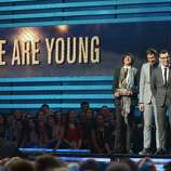 Fun receives their Grammy for Song of the Year at the Staples Center during the 55th Grammy Awards in Los Angeles, California, February 10, 2013. AFP PHOTO Joe KLAMARJOE KLAMAR/AFP/Getty Images