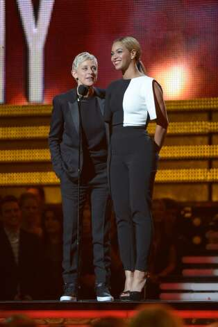 Ellen DeGeneres and Beyonce speak on the stage at the Staples Center during the 55th Grammy Awards in Los Angeles, California, February 10, 2013. AFP PHOTO Joe KLAMARJOE KLAMAR/AFP/Getty Images Photo: JOE KLAMAR, AFP/Getty Images / AFP