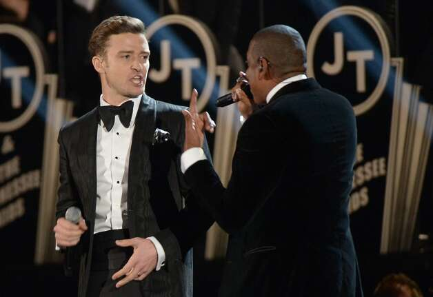Justin Timberlake and Jay-Z perform at the stage at the Staples Center during the 55th Grammy Awards in Los Angeles, California, February 10, 2013. AFP PHOTO Joe KLAMARJOE KLAMAR/AFP/Getty Images Photo: JOE KLAMAR, AFP/Getty Images / AFP