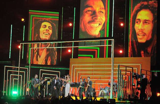 Rihanna, Bruno Mars, Sting, Ziggy and Stephen and Damian Marley perform in tribute to Bob Marley on stage at the Staples Center during the 55th Grammy Awards in Los Angeles, California, February 10, 2013. AFP PHOTO Joe KLAMARJOE KLAMAR/AFP/Getty Images Photo: JOE KLAMAR, AFP/Getty Images / AFP